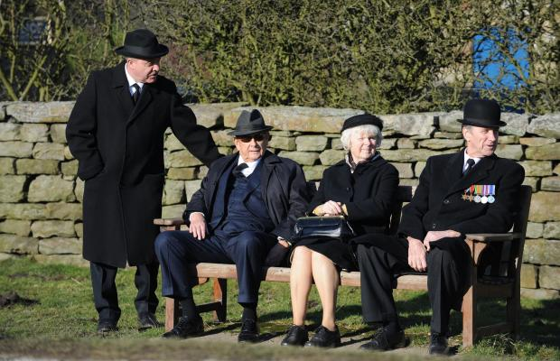 The Northern Echo: Derek Fowlds (second from left), who plays Oscar Blaketon, on the set of the Heartbeat television series in Goathland, North Yorkshire. Picture: PA