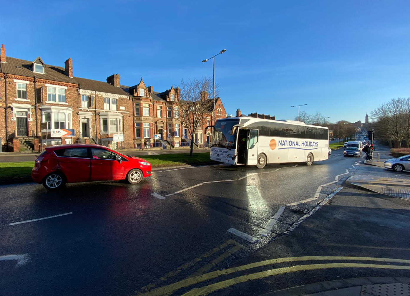 Car and bus involved in crash outside Sainsbury's in Darlington town centre