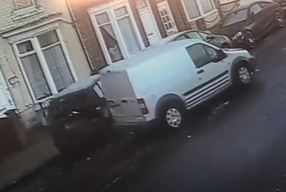 CCTV shows van hits parked cars on Haughton Road in Darlington