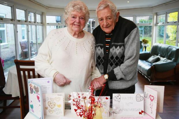 Tommy and Sadie Gibson celebrate their platinum wedding anniversary at St Mary's Nursing Home Chester le Street Picture: SARAH CALDECOTT
