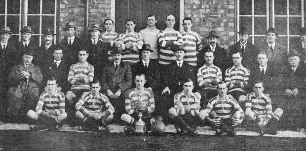 The Northern Echo: Darlington FC in 1920-21 – a few months after the great victory of Sheffield Wednesday and featuring many of the same players: Back row, from left: JK Dodds, G Collins, G Walker, J Byers, W Heseltine, Johnson, Hall, A Grieg, D Taylor, Lawrence, L Littlejohn, W Bateman, WD Cleminson, J Nixon. Centre row: Councillor Mountford, E Hanlon, Dickson, J Fairless, JB Haw, H Tolson, Sutcliffe, Malcolm, J English, G Pailor. Front row: Gilbey, A Travis, Healey, Stevens, Winship, Golightly.