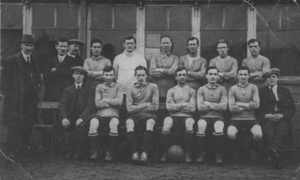 The Northern Echo: Echo memories - The Darlington Forge Albion team that played in the Victory League in 1918-19 was largely made up of old pros. The players and the clubs they made their names with, back row (left to right): Jack English (Sheffield United), later manager of Darlington; Andy Greig (Aberdeen), the deaf goalkeeper; Cook (Sheffield Utd); Robinson (Middlesbrough); Barnshaw (Watford); Burke (Sheffield Utd). Front row; Kirsopp (Barnsley); Hastings (Sunderland); Toward (Preston North End); Hafecoast (Dundee); Johnson (Clapham Orient). The trainer in the big cap on the right of the front row is Willie Mafham.