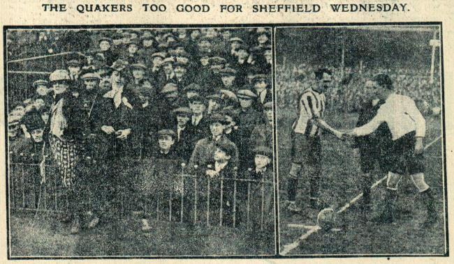 An Echo photo of Quakers fans at Hillsborough and captain Dick Healey shaking hands with his opposite number from Sheffield Wednesday, Brittleton.