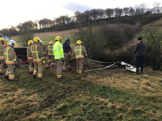 The horse, which starred in the first series of Peaky Blinders, is rescued by firefighters after slipping into a ditch. Picture: County Durham and Darlington Fire and Rescue Service