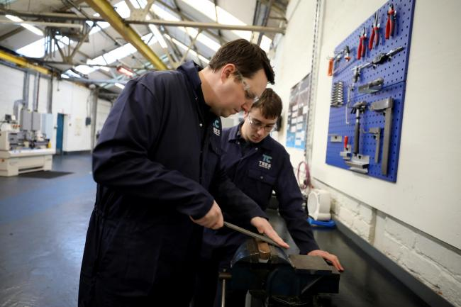 Mayor Ben Houchen with an apprentice at Tees Components