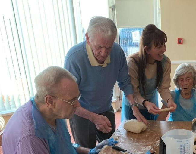 Ralph Baines, 85, takes the first session of the new baking club at Pelton Grange Care Home