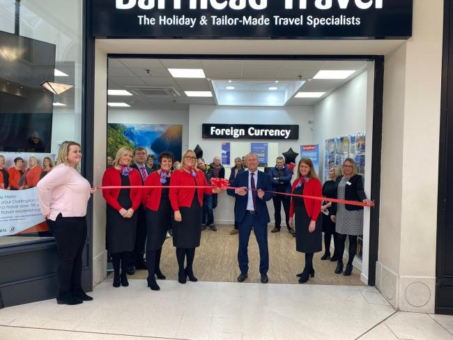 Staff at the newly opened Barrhead Travel in the Cornmill Centre, Darlington