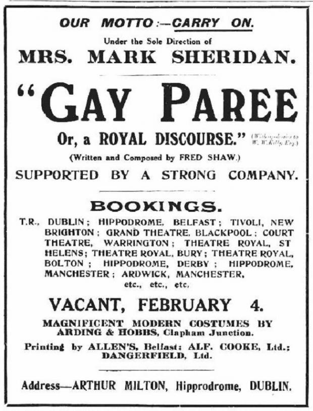 The Northern Echo: This advert for Gay Paree appeared in the same edition of The Era as his obituary – just a week after his death