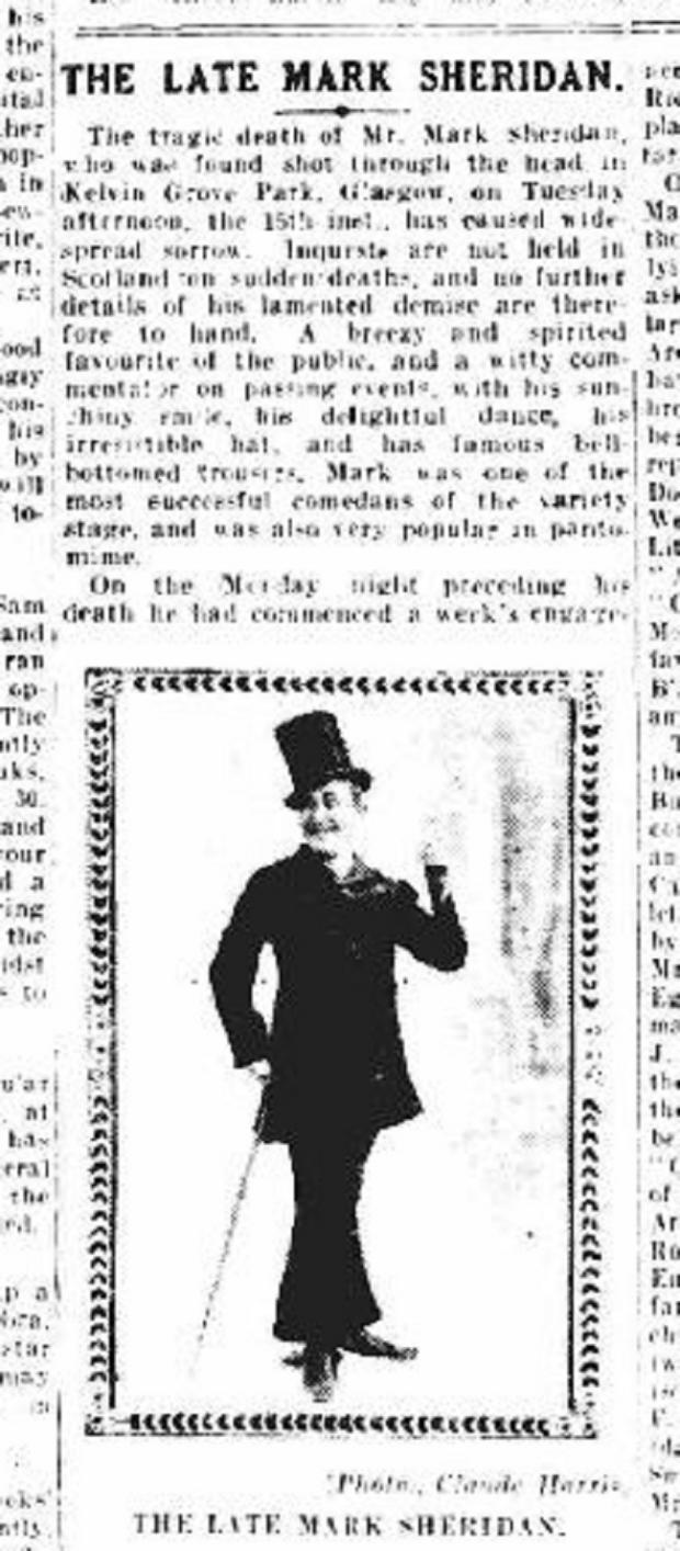 The Northern Echo: The obituary for Mark Sheridan in The Era newspaper from January 23, 1918