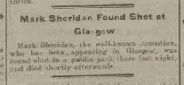 The Northern Echo: News of Mark Sheridan's death in The Western Times from January 16, 1918 – the morning after he took his own life