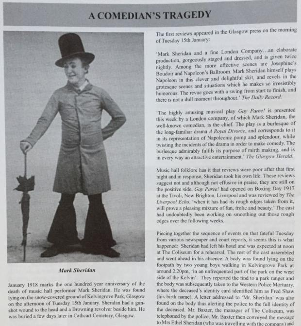 The Northern Echo: An article on Mark Sheridan, written for the British Music Hall Society by Alison Young on the centenary of his death