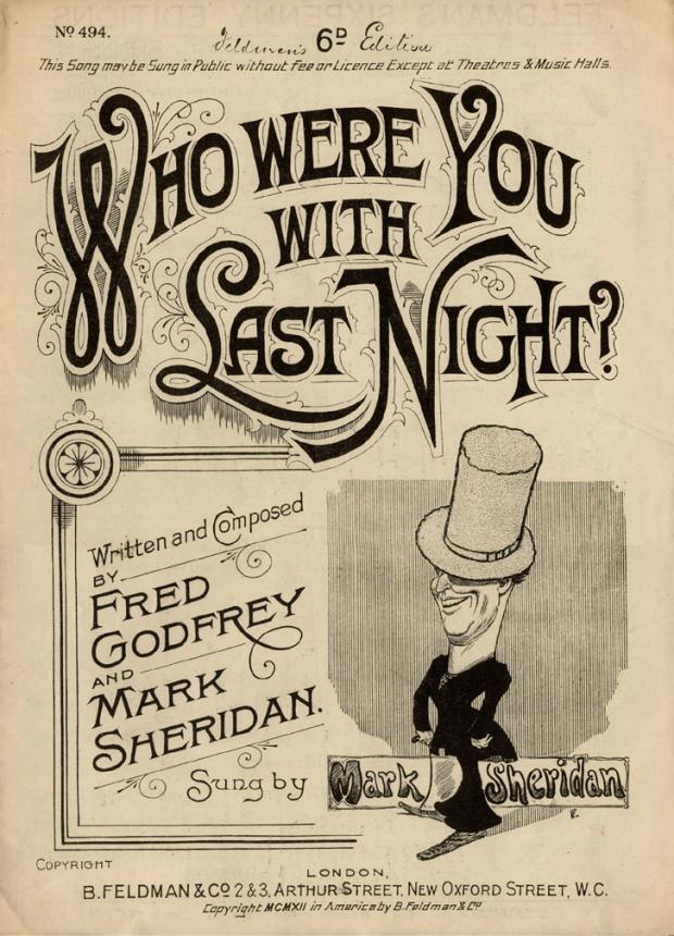 The Northern Echo: Front cover of the sheet music for 'Who Were You With Last Night?' one of Godfrey and Sheridan's biggest hits