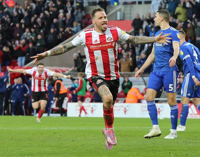 Chris Maguire celebrates after scoring Sunderland's winning goal in their weekend victory over Ipswich Town