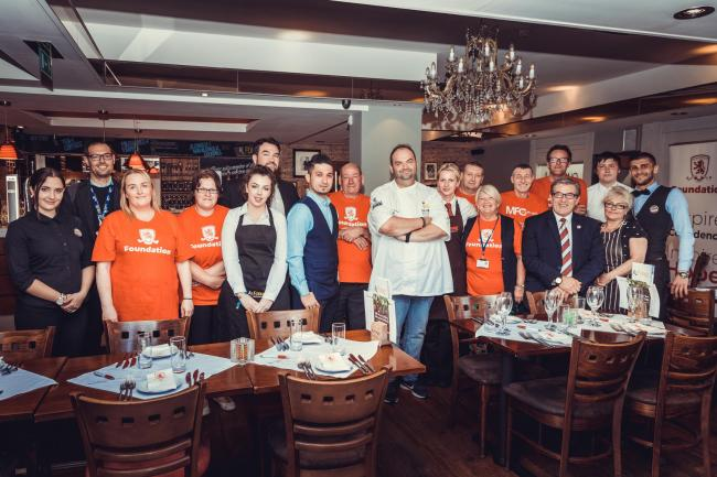 Chef Matei Baran, the first Kitchen Therapy team and staff at Al Forno restaurant in Middlesbrough
