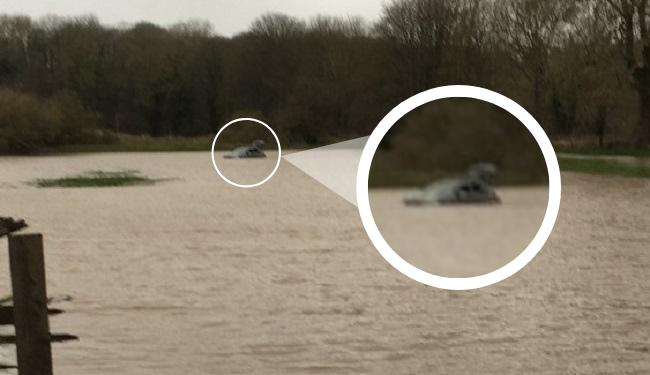Ben's car submerged in the Tees the morning after his ordeal