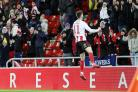Lynden Gooch celebrates putting Sunderland ahead on Tuesday