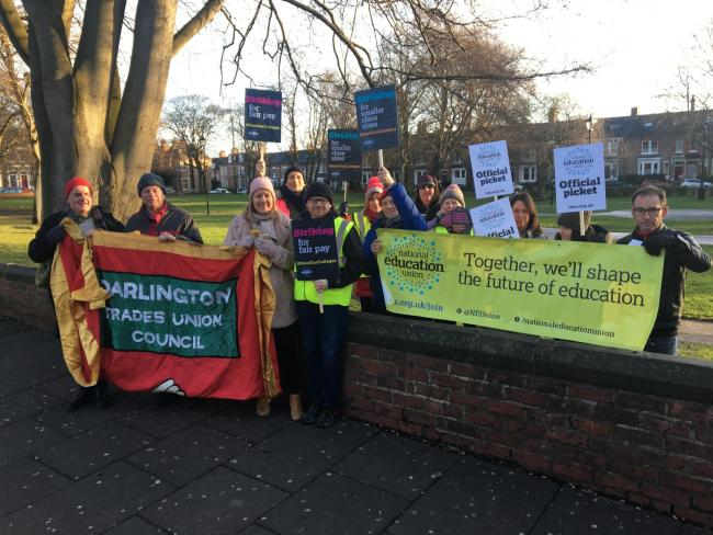 Staff striking outside Queen Elizabeth Sixth Form in Darlington