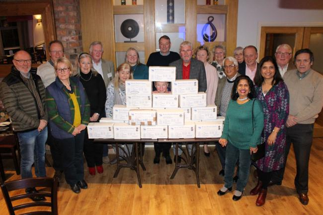 : Members of the Rotary Club of Northallerton Mowbray with their filled shoeboxes prior to dispatch to Eastern Europe