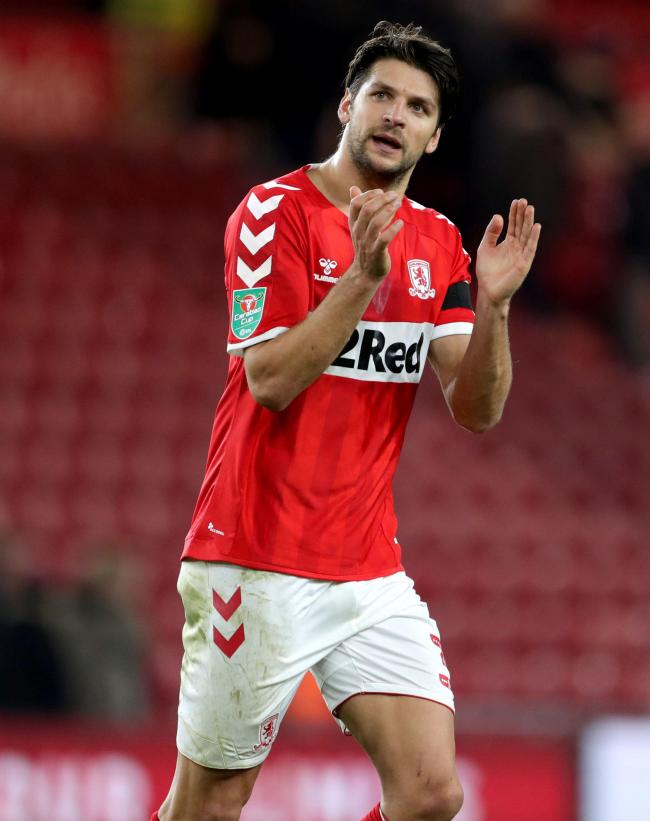 Middlesbrough's George Friend applauds the fans at the end of the Carabao Cup, Fourth Round match at the Riverside Stadium, Middlesbrough. PRESS ASSOCIATION Photo. Picture date: Wednesday October 31, 2018. See PA story SOCCER Middlesbrough. Photo cred