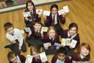 Children from Yarm's Layfield Primary School with their handmade letters of support