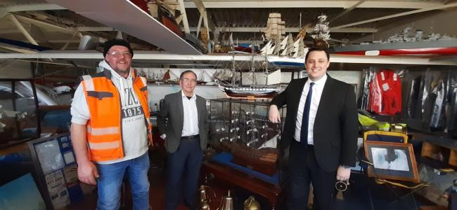 Tees Valley Mayor Ben Houchen at Hartlepool Marine Supplies, with Mark, left, and Cedric Williams, centre
