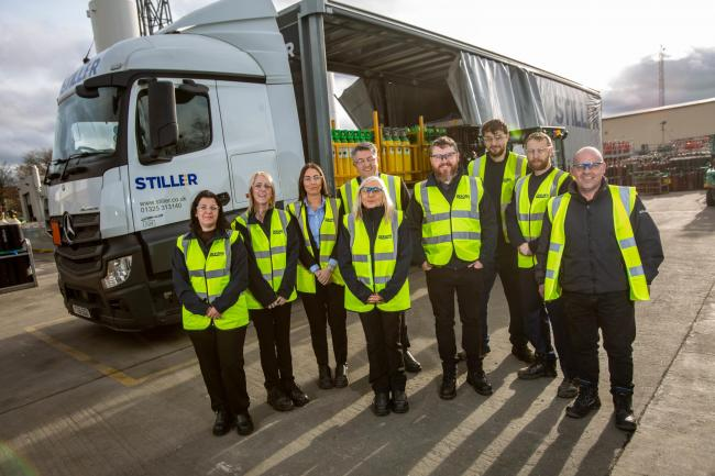 Employees at the Stiller Ware-housing firm who help Newcastle firm Hobbyweld to move gas cylinders to people around the UK