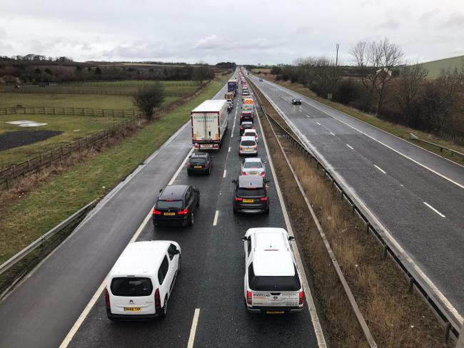 Traffic on the A1(M) following the closure of the northbound carriageway. Picture: Sarah Caldecott