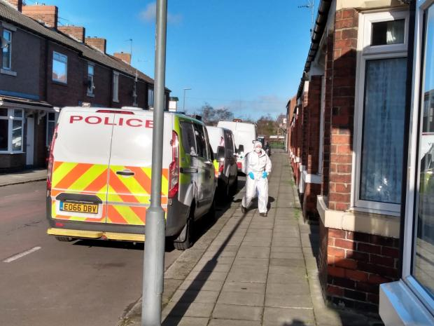 The Northern Echo: Forensics officers were still at the the scene on Sunday afternoon