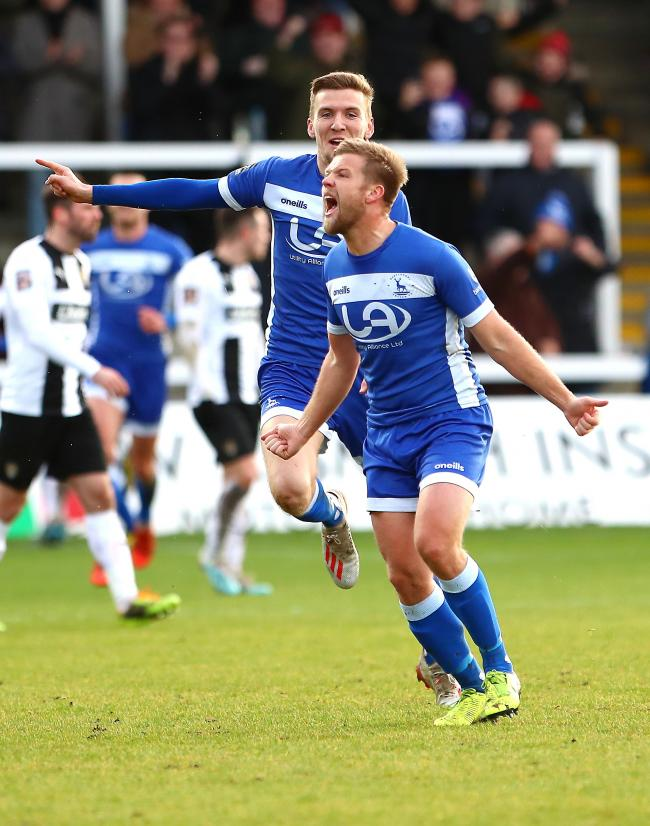 Nicky Featherstone after scoring his second goal against Notts County Picutre: DAN WESTWELL