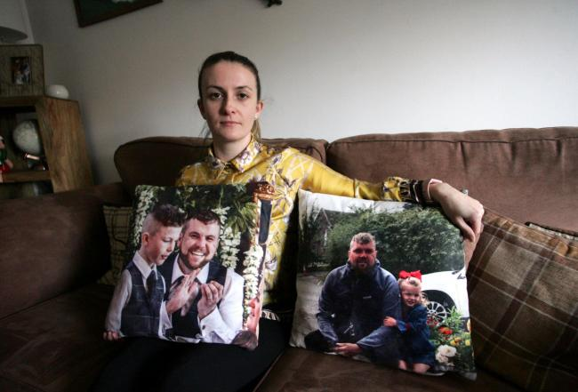 Emma Stanger marked her first wedding anniversary by paying for a day of care at St Cuthbert's Hospice in memory of her husband Mark, captured in image on cushions with son Leighton and daughter Jessie  Picture: GAVIN ENGELBRECHT