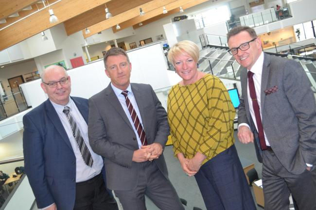 Cllr John Robison, Chair of Governors, Dave Davies, current Headteacher, Jane Spence, Chief Executive of Laidlaw Schools Trust, Geoff Robinson, currently Deputy Headteacher (Curriculum) who will be promoted to headteacher from June 1