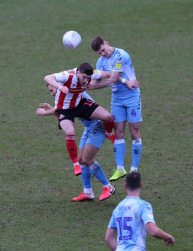 Lynden Gooch goes up for a header during Sunderland's weekend defeat to Coventry City