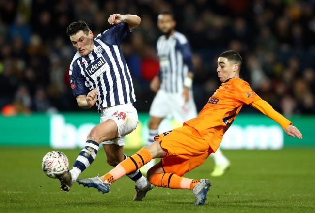 West Bromwich Albion's Gareth Barry (left) and Newcastle United's Miguel Almiron battle for the ball during the FA Cup fifth round match at The Hawthorns, West Bromwich. PA Photo. Picture date: Tuesday March 3, 2020. See PA story SOCCER West Brom.