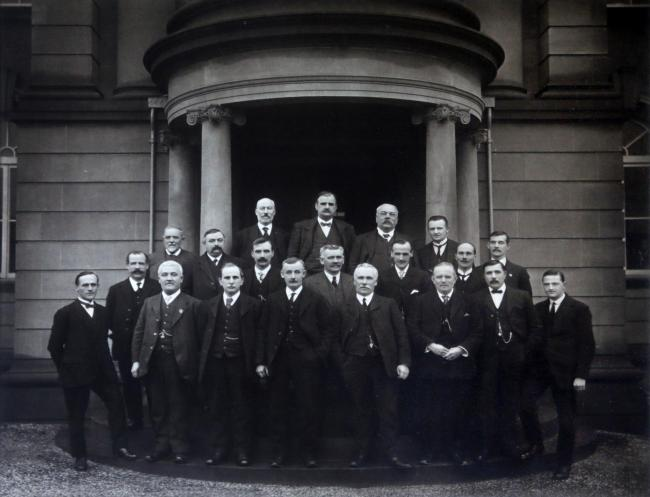 The agents and executive committee at the opening of the miners new hall, October 23rd 1915.