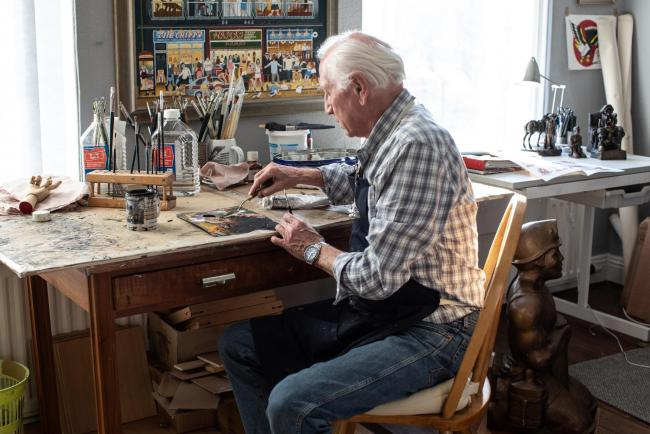 Bob Olley in the artistic process                                                                        Picture: HOUSE OF HUES