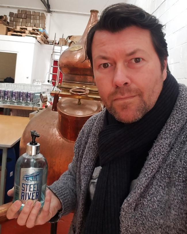 Darlington distiller Jay Byers, who makes Steel River Gin, is now making hand sanitiser as well