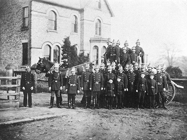 The Darlington fire brigade and Southend in the early 1890s when it was led by Capt John Bowman, second from left
