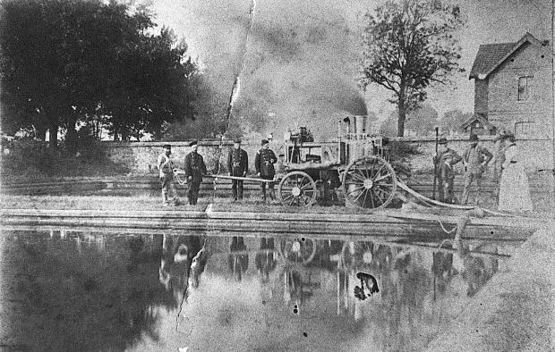 The Northern Echo: Darlington's first fire engine, Southend, being put through its paces at the Tees Cottage Pumping Station shortly after it was given to the town by Joseph Pease