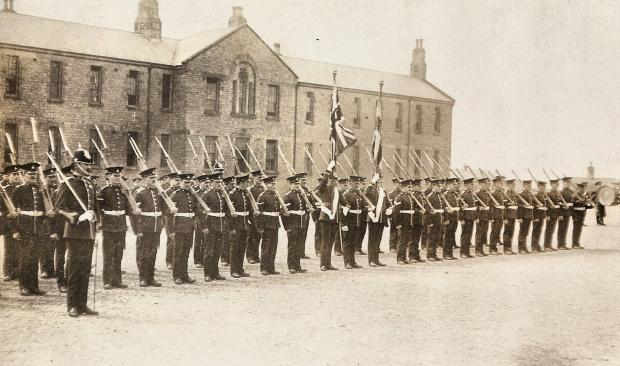 The Northern Echo: The Green Howards parade at the former barracks in Gallowgate, Richmond, 1912