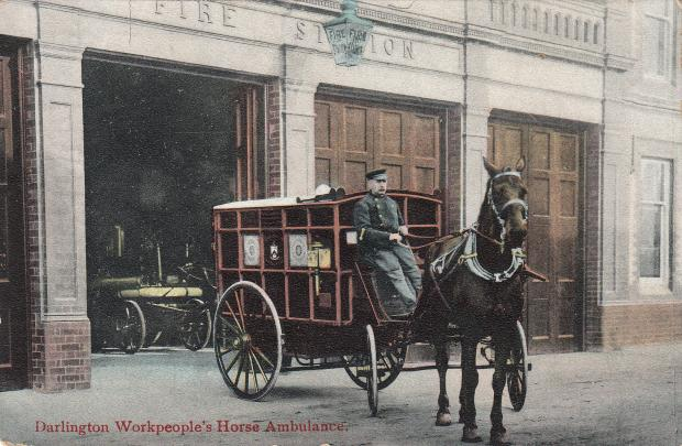The Northern Echo: An Edwardian postcard showing a horsedrawn ambulance at the newly-opened Borough Road station