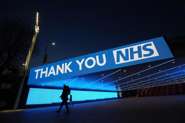 A sign by Wembley Park Tube Station in London that thanks the hardworking NHS staff who are trying to battle coronavirus Picture: JOHN WALTON/PA