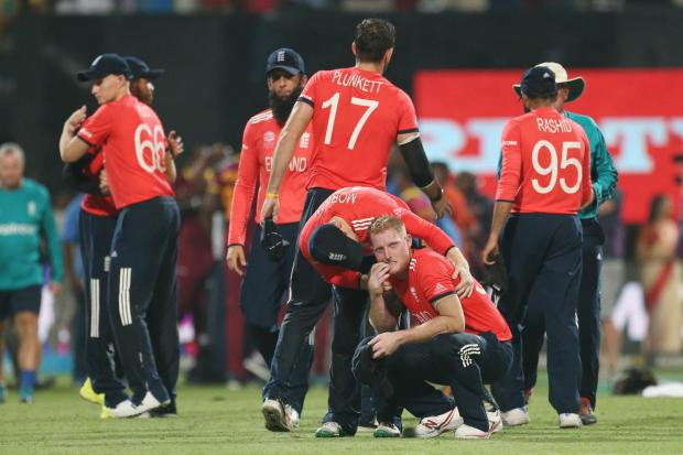 Ben Stokes is consoled by Eion Morgan following their loss to the West Indies in the final of the ICC World Twenty20 2016