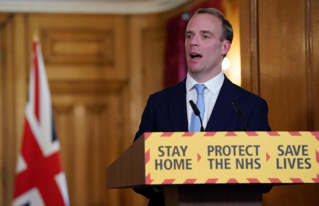 The Northern Echo: Foreign Secretary Dominic Raab during a media briefing in Downing Street, London, on coronavirus. Picture: Pippa Fowles/Crown Copyright/10 Downing Street/PA Wire