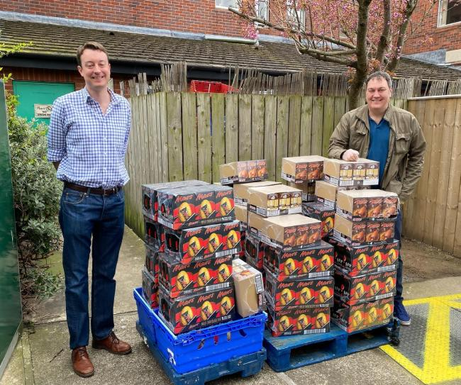 MP Simon Clarke and his chief of staff Steve Turner deliver eggs to staff at James Cook hospital
