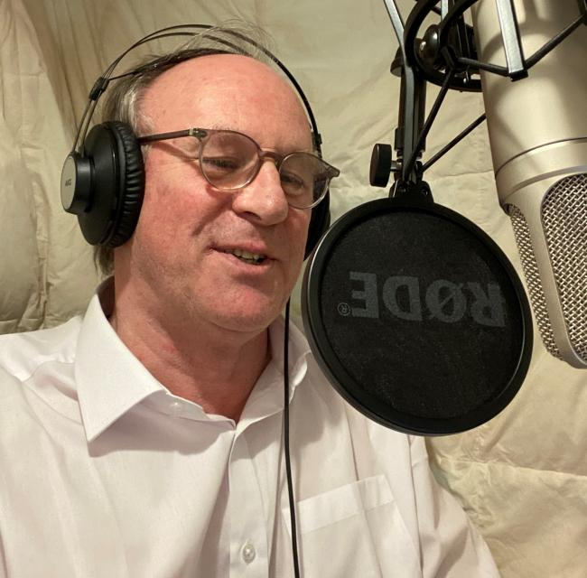 Peter Davison recording the Vet Series