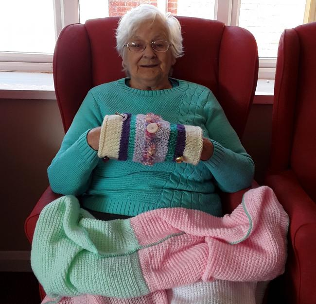A resident from The Gables Care Home in Middlesbrough with a twiddle muff