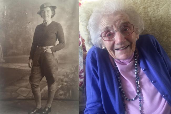 Joyce Richardson in her time as a Land Girl in the early 1940s and in the present day, aged 99