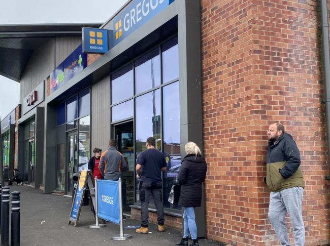 Queues after Greggs in Sunderland reopened Picture: JIM SCOTT