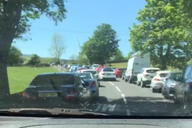 Police have closed the B6277 due to congestion Photo courtesy of local resident Becky Stevenson