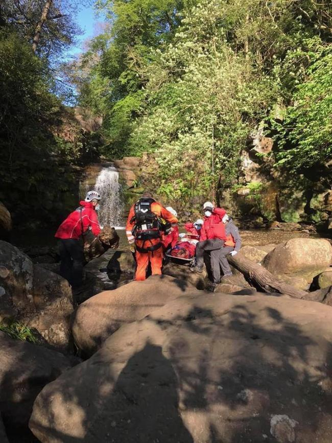 Dozens of emergency service personnel and rescue volunteers helped get the man to hospital after he was injured at Thomason Foss waterfall, North Yorkshire